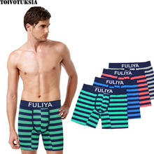 Full Cotton Underwear Mens Boxer Shorts Men New Striped 2016 Long Leg outside Homme and Leisure