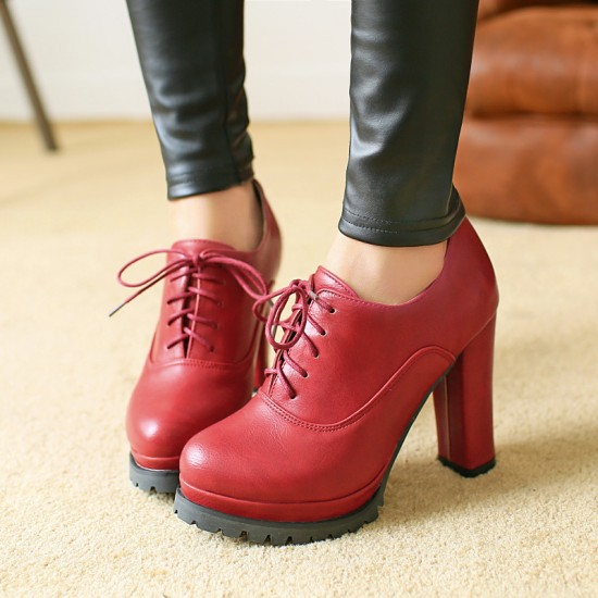 ФОТО New Arrival Platform High Heels Women Shoes Ladies Casual Thick Heels Pumps Vintage Pu leather High Heel Ankle Boots Shoes Woman