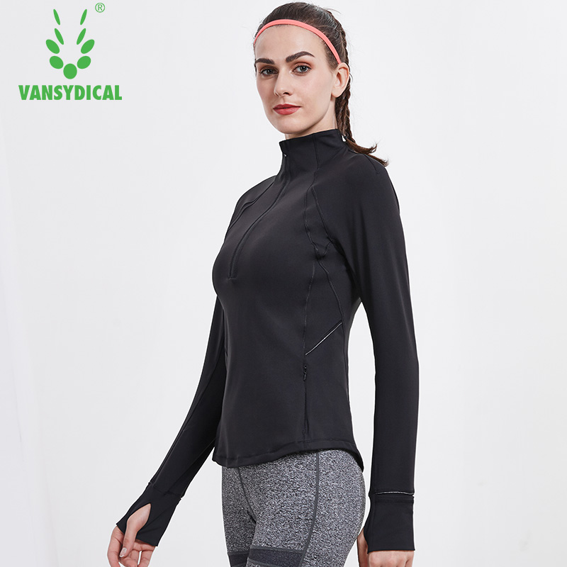 Vansydical Women Yoga Top Running Jacket Thumb Hole Yoga Jacket Zipper Coat Fitness Clothing Top Sport Gym Sportswear Sweatshirt umbro womens gym jacket zipper cardigan sport sweater baseball coat jacket stitching training zipper jacket fitness ucb63742