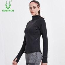 Vansydical Women Yoga Top Running Jacket Thumb Hole Yoga Jacket Zipper Coat Fitness Clothing Top Sport Gym Sportswear Sweatshirt