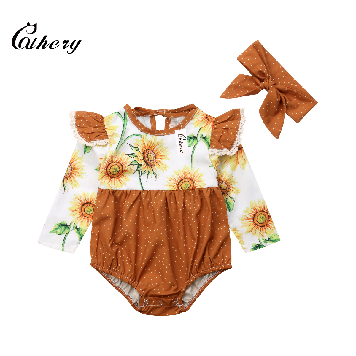 8078b8dc4622 Cathery Fashion Sunflower Toddler Infant Baby Girl Fly Sleeve Romper  Jumpsuit 2Pcs Outfits Clothes-in Rompers from Mother   Kids on  Aliexpress.com