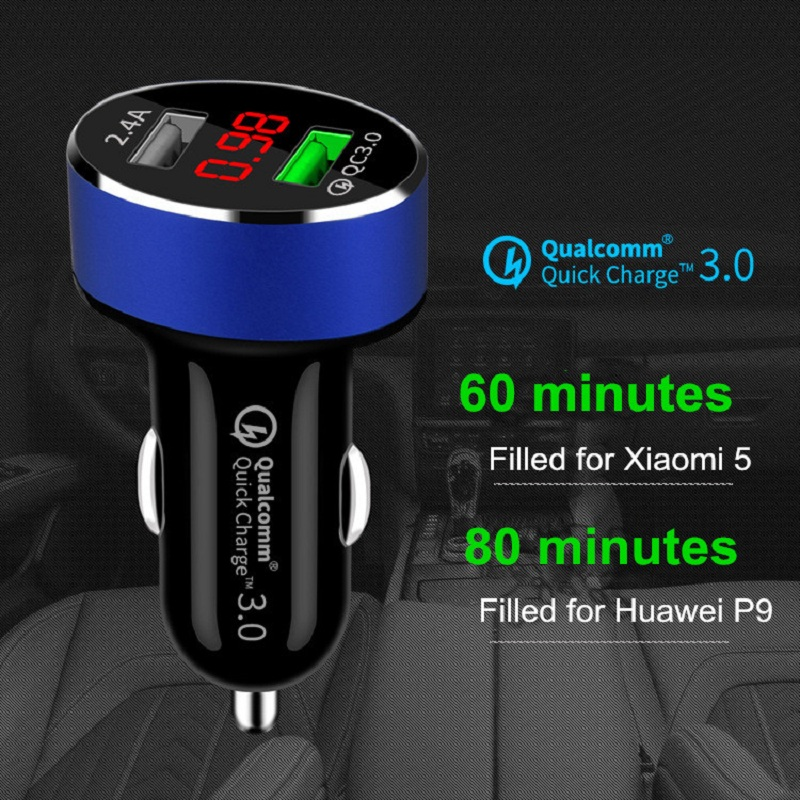 QC 3 0 Dual USB Car Charger With LED Display Universal charge Phone Car Charger for Xiaomi Samsung S8 iPhone Xs 7 8 Plus Tablet in Car Chargers from Cellphones Telecommunications
