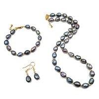 Набор ювелирных изделий из пресноводного жемчуга ожерелье браслет серьги барокко жемчужный набор для женщин вечерние ювелирные изделия Св