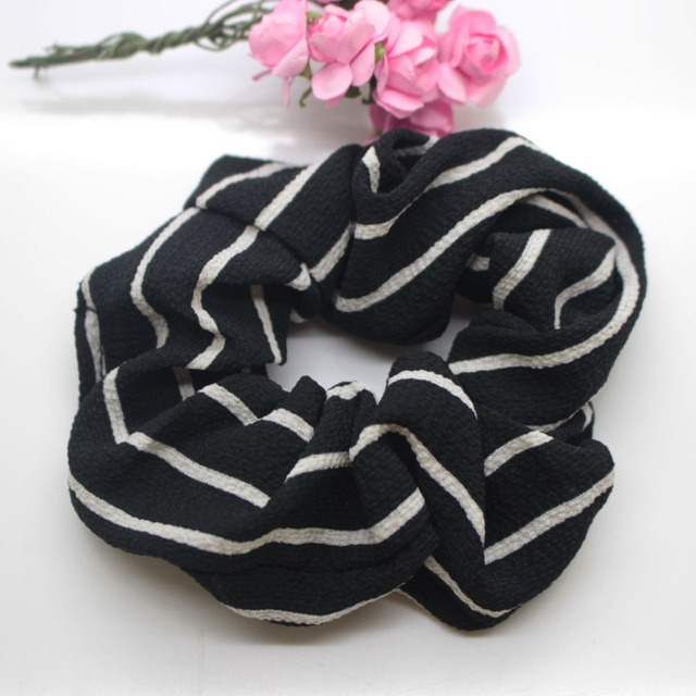 Classic striped elastic hair band 2 Pcs lot simple ponytail hairwear disk fat  hair band 16cccb42d4a