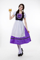 Free Shipping Women Oktoberfest Girl Costume Bavarian Traditional Fancy Maid Apron Dress M,L ,XL