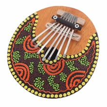 TSAI 2017 NEW Kalimba Thumb Piano 7 Keys Tunable Coconut Shell Painted Musical Instrument Random Color Free Shipping