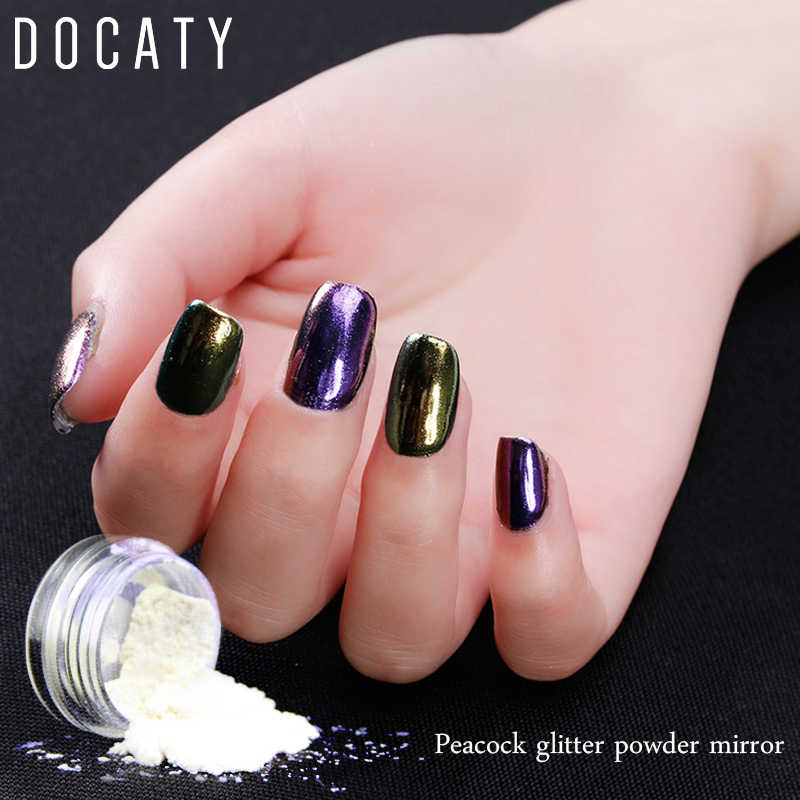 Docaty Nail Glitter Powder Sequins for Nails Sets Gel Varnish Semi Permanent Enamel Set Uv Gel Manicure Accessories