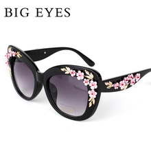 Women Luxury Brand Sunglasses Jewelry Flower Flora Rhinestone Decoration Big Sun glasses Vintage Shades Eyewear gafas de sol New