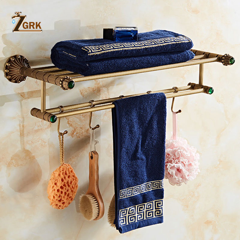 ZGRK New Antique Brass Rack Dual Bathroom Towel Holder Double Towel Shelf With Hooks Bathroom Accessories 9008 nail free foldable antique brass bath towel rack active bathroom towel holder double towel shelf with hooks bathroom accessories