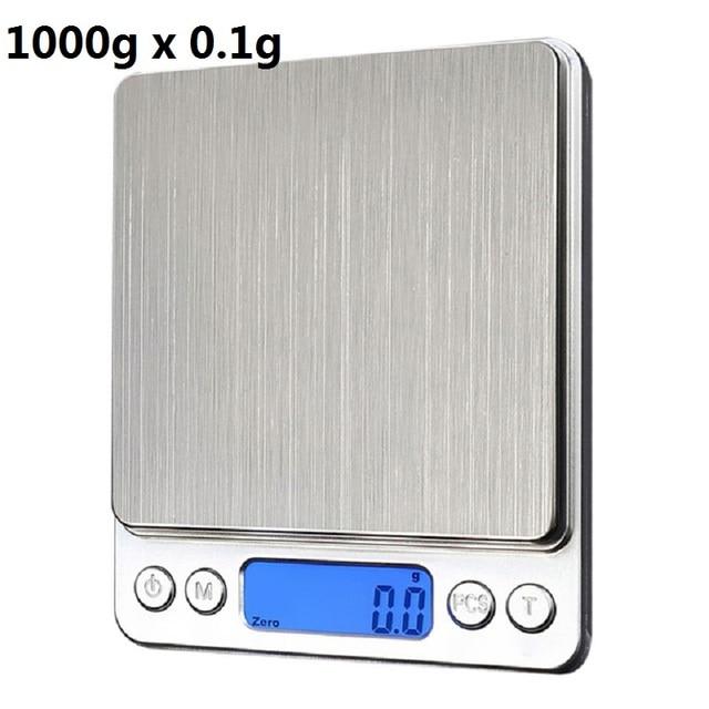 0.1g/0.01g 500-1000g Balance de poche numérique bijoux poids Balance électronique Balance de précision de cuisine par batterie 2 xAAA