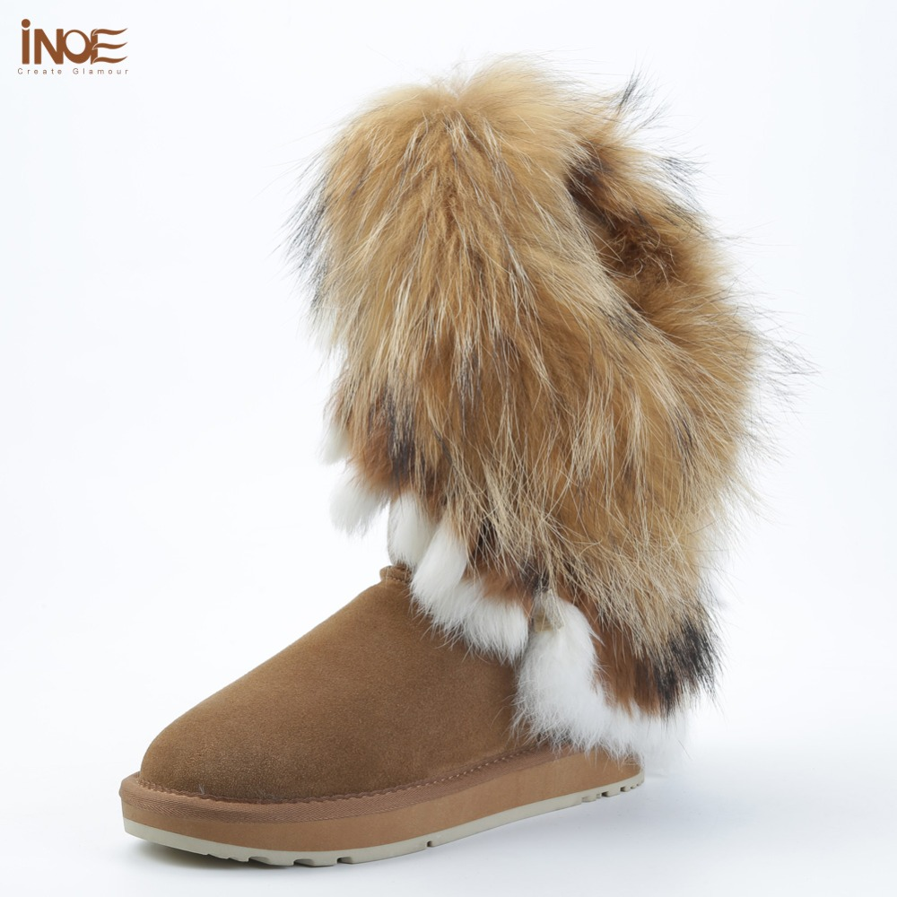 INOE fashion real fox fur cow suede leather woman winter snow boots for women winter shoes rabbit fur tassels high quality black