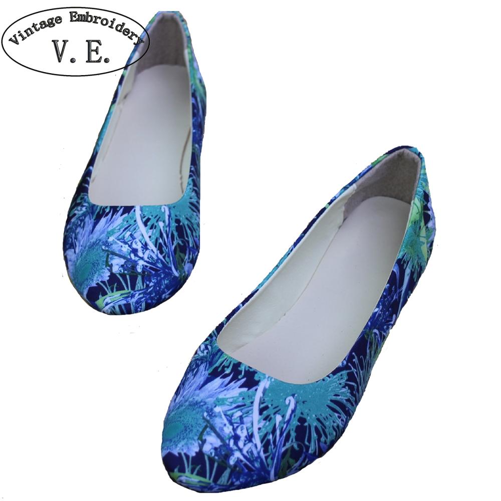 2018 New Spring Summer Shoes Woman Flower Print Flats Womens Loafers Ladies Shoes Zapatos Mujer Plus Size 42