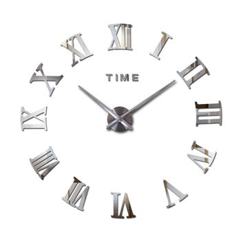 Hot sale real large home decorative wall clocks quartz modern design wall clock watch horloge 3d diy acrylic mirror stickers