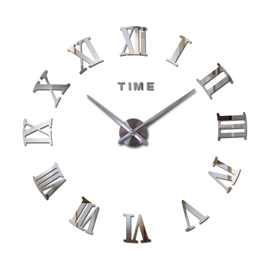 Vente chaude réel grande maison décoratif mur horloges à quartz design moderne horloge murale montre horloge 3d diy acrylique miroir autocollants