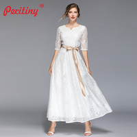 Peritiny 2019 Summer Long Dress White Lace Soft Short Sleeve V Neck Maxi Dresses For Women Wedding Party Club Elegant Dress
