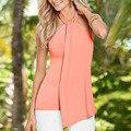 Mujeres de Moda de verano tops Sexy fuera del hombro Sin Mangas halter Con Cuello En V camiseta Delgada señoras de la oficina Solid Camisas Blusas Femininas Y1