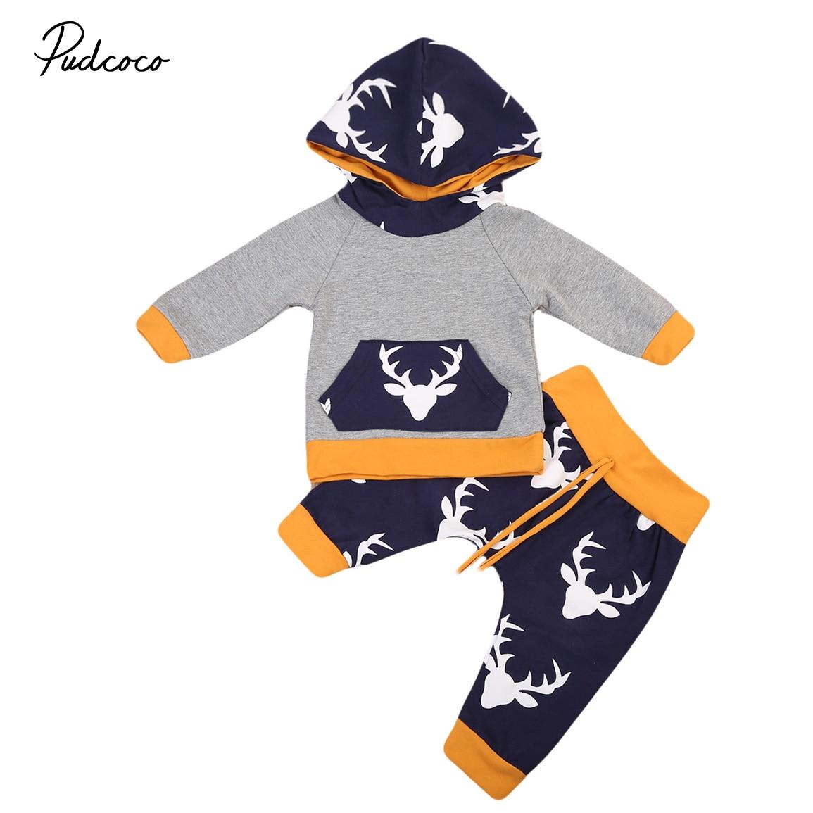 Adorable 2PCS Autumn Winter Newborn Baby Boy Girl Deer Hooded Outfits Warm Cotton Sweater Tops Pants Leggings Clothes Set 2pcs set baby clothes set boy