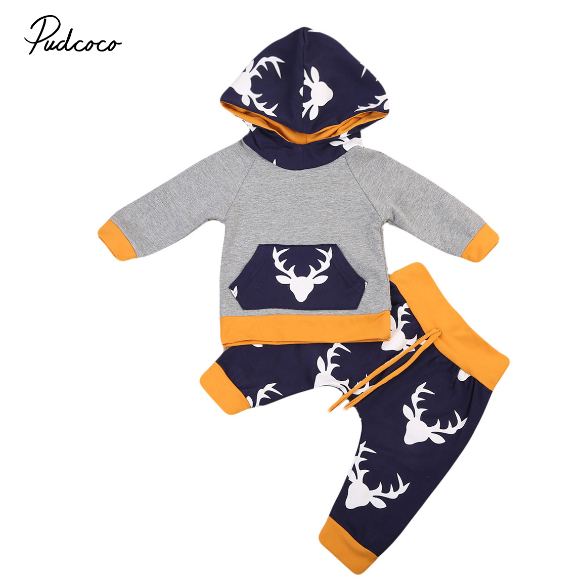 Adorable 2PCS Autumn Winter Newborn Baby Boy Girl Deer Hooded Outfits Warm Cotton Sweater Tops Pants Leggings Clothes Set