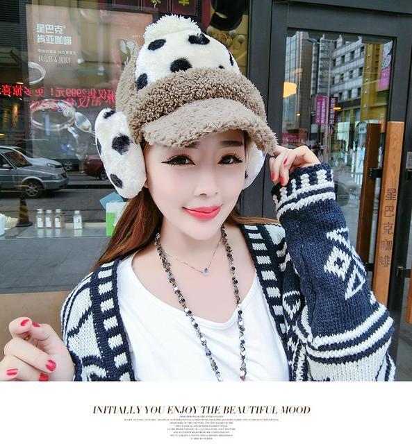 Зимняя шапка молодые девушки прекрасная леди зима Корейский прилив фуражке Плюшевые теплые наушники