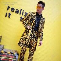 Nightclub Stage Singer DJ Clothes Men Long Casual Slim Fit Suits Sets 2PCS (jacket+pant) Male Slim Fit Blazer Yellow Suit Jacket