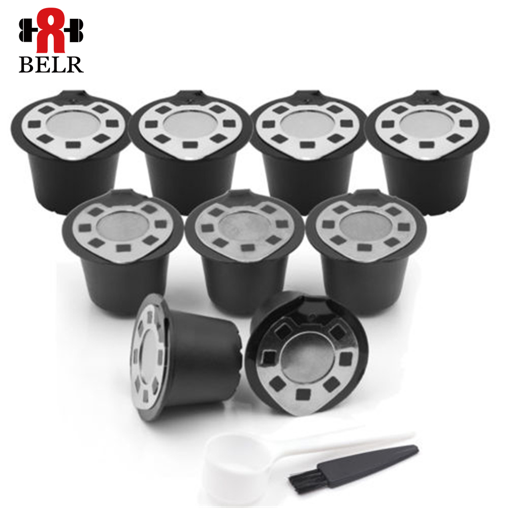 6pcs/Bag For Nespresso Refillable Capsule Filter Baskets Stainless Steel Reusable Coffee Filter Cup Get Spoon Brush
