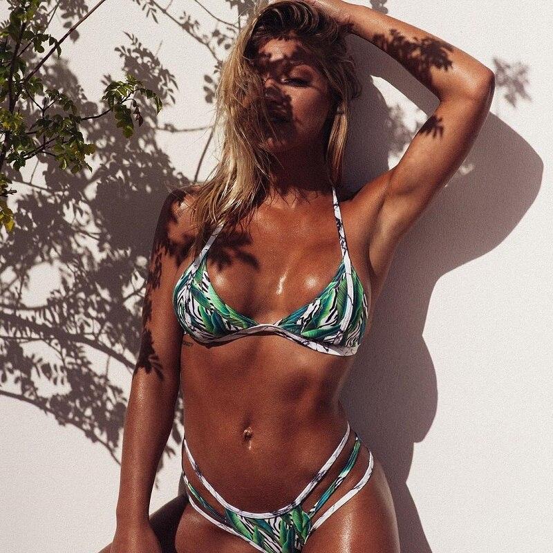 Green Leaf Bikini 2018 Bandage Bikinis Set Swimwear Women Push Up Swimsuit Brazilian Biquini Sexy Thong Bathing Suit Beach Wear brazilian tanga bikini 2016 swimwear women big bow thong bikini bottom sexy brazilian biquini bralette trajes de bano women