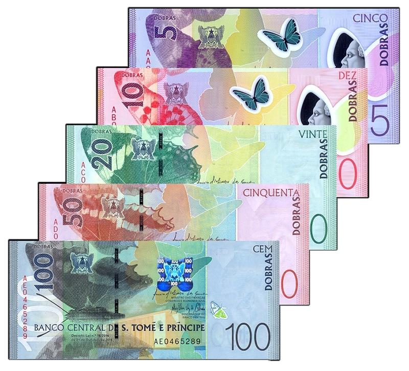 Sao Tome and Principe Set 5 pcs 5 10 20 50 100 Dobras 2016 2018 2
