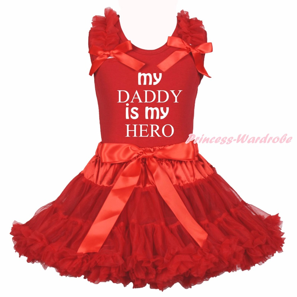 Valentine My Daddy Is My Hero Red Cotton Top Shirt Girls Skirt Outfit Set 1-8Y green top shirt my 2nd st patrick day rainbow clover girls skirt outfit set 1 8y