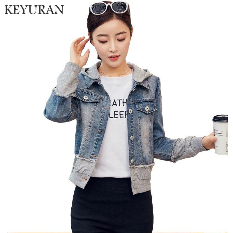 Boyfriend Harajuku style short Hooded Jacket Denim Coat Women Jean Jackets 2018 Autumn Loose Casual Patchwork Jacket Removable