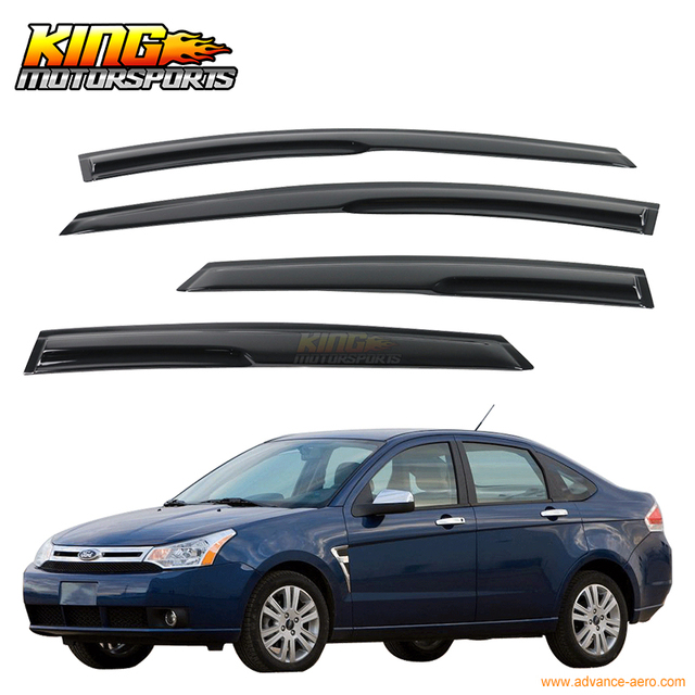 For 08-11 Ford Focus Smoked Aero JDM Wind Deflectors Stick On Window Visors USA Domestic Free Shipping