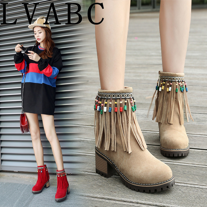 2018 New Fashion Soft Women Ankle Boots Spring Autumn Vintage Fringe Shoes Woman Winter Female Shoes Size 33 43 Botas Mujer