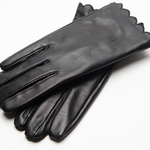 Image 4 - Gours Womens Genuine Leather Gloves Fashion Brand Black Sheepskin Touch Screen Finger Gloves Warm In Winter New Arrival GSL070