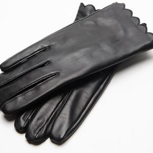 Image 4 - Gours frauen Aus Echtem Leder Handschuhe Mode Marke Schwarz Schaffell Touchscreen Finger Handschuhe Warm Im Winter Neue Ankunft GSL070
