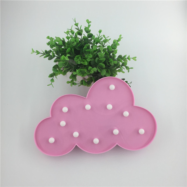 Us 12 99 Novelty Led Pink Cloud Night Light Hang Up Children Bedroom Desk Lamp Party Wedding Christmas Decor Battery Operated Kids Gifts In Led