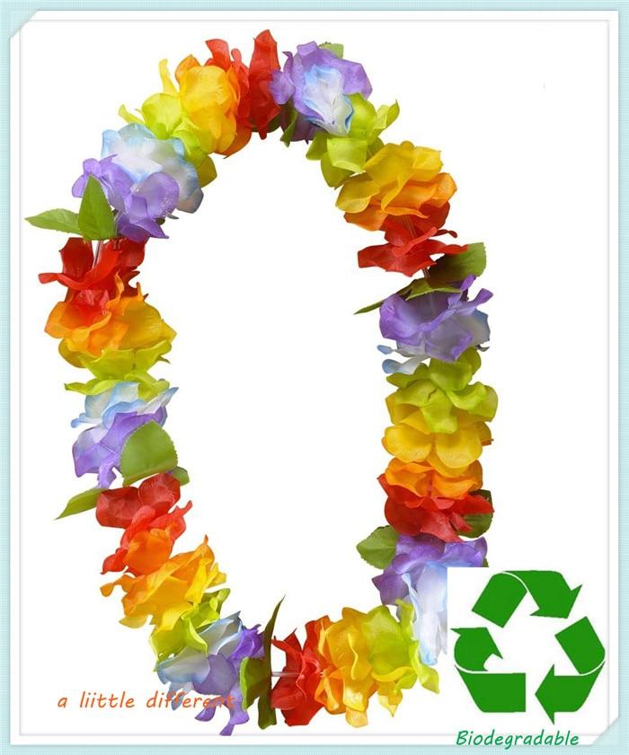 12pcs/lot L=0.5M Hawaiian Island Silk Flower Leis For Luau Tropical Themed Celebrations Beach Fancy Dress Party Supplies