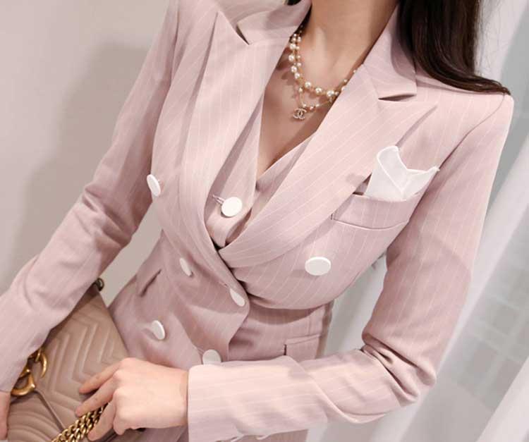 2019 formel trois pièces ensemble femmes pantalon costumes col cranté rayé Blazer veste gilet pantalon poche costume de haute qualité S95506Z - 4
