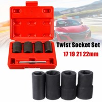 5pcs Twist Socket Set 1 2 Drive Wheel Lock Nut Remover Removal 17 19 21mm 22mm