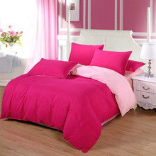 купить Korean Style Fuchsia/Pink Hot Sale 4PCS Bedding Set queen size duvet cover set bed sheet set sweet girl bed set wedding bedding дешево