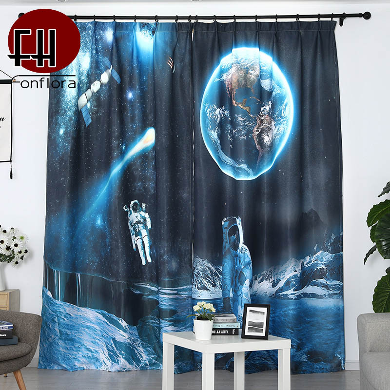 Blue Blackout Curtains For Kids Room Bedroom 3D Printed Living Room Curtains Outer Space Planet Children Boys Custom Blinds