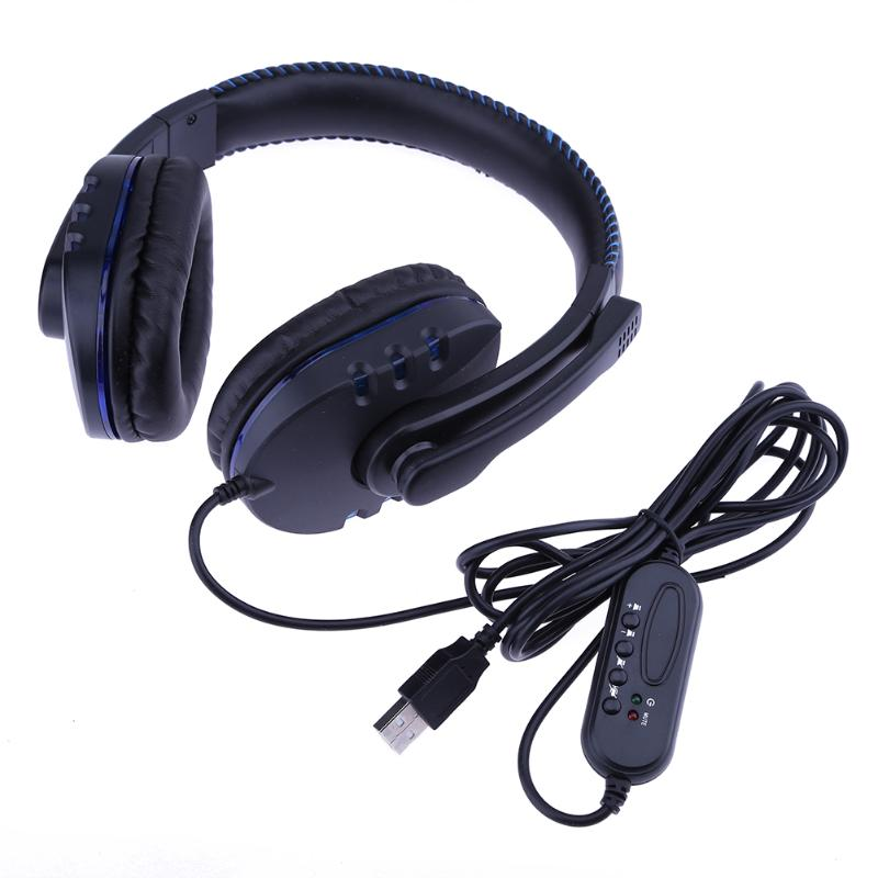 Black Gaming Headphone USB Computer Video Games Gamer Headset Headphones Black Luminous With Microphone for Sony PS3 PS4