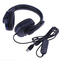 Black Gaming Headphone USB Computer Video Games Gamer Headset Headphones Black Luminous With Microphone For Sony