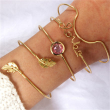 4 Pcs/ Set Vintage Love Crystal Bracelets Boho Leaves Chain Opening Gold Color Bracelet Women Fashion Jewelry