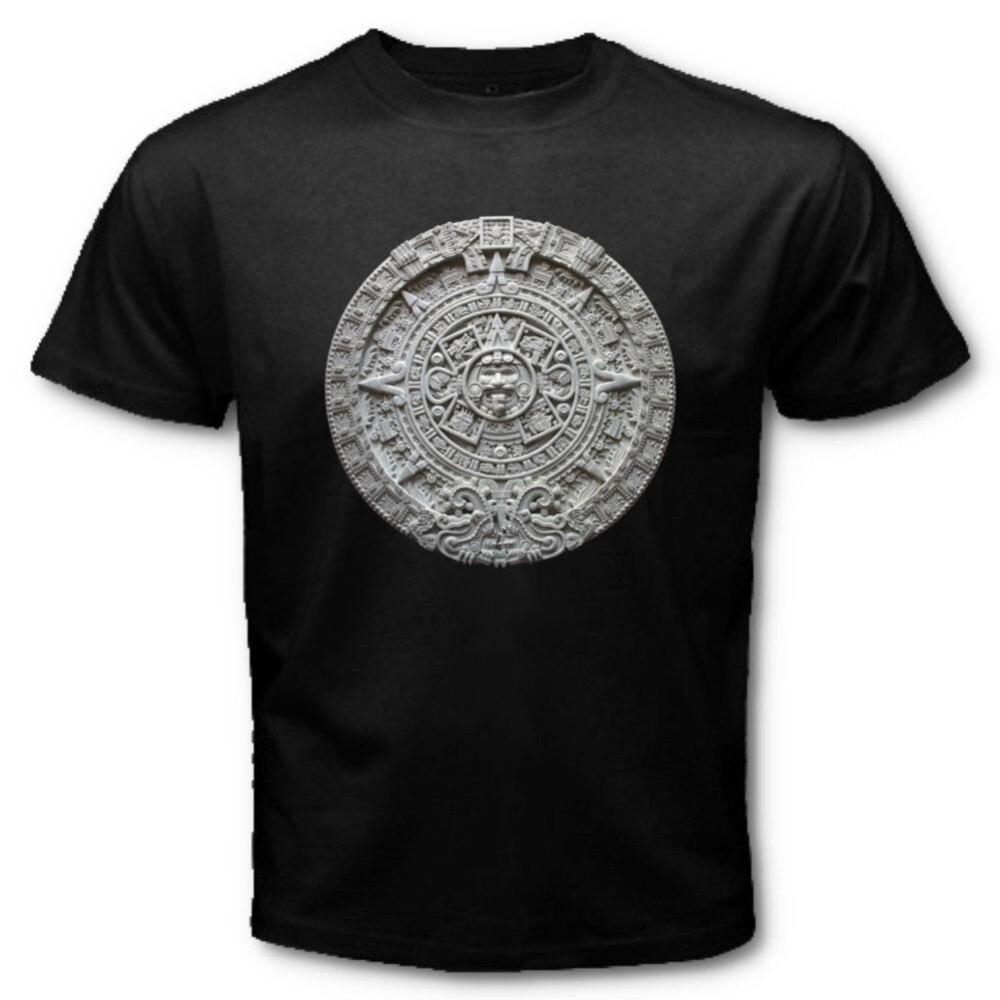 2018 Offre Spéciale Super Mode Calendrier AZTÈQUE Soleil Pierre Sunstone Mexicain Art Sculpture Maya Mayas T-SHIRT AZS