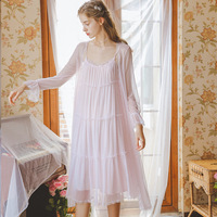 Lady Nightgown Princess Women Gown Sleep Robe Long Sleeve Lace Robes Set Summer Autumn Sleepwear Two Piece Dress Pink White