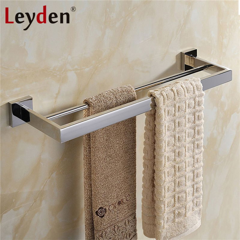 Leyden High Quality Double Towel Bar SUS304 Stainless Steel Wall Mount ORB/ Chrome Finish Bathroom Accessories Towel Hanger Rack high quality silver stainless steel wall mounted kitchen bathroom double bar rack double towel bar