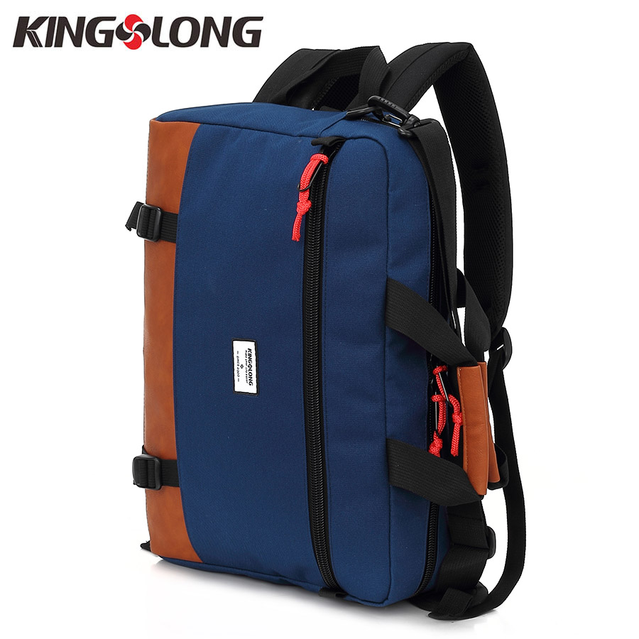 KINGSLONG Multifunction 15.6 Inch Notebook Backpack Laptop Computer Bag for Men Nylon+PU Leather Functional Versatile Bag #53