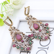 New Bright Flower Earrings Turkish Retro Gold Plating Swinging Pendant Earrings Princess Hook Luxury Women Jewelry Festival Gift