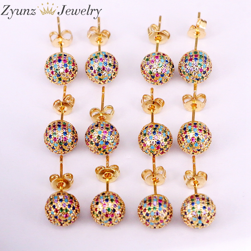 Image 2 - 5 Pairs 8mm/10mm Golden Color Copper Multicolor Cubic Zirconia  Round Disco CZ Ball Stud Earrings Womens Party Fashion JewelryStud  Earrings