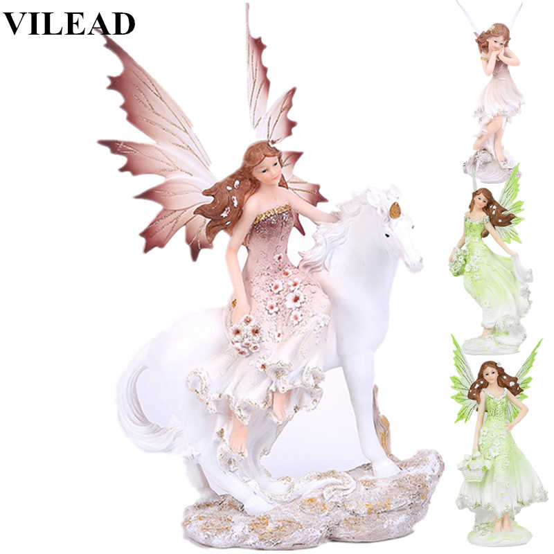 VILEAD 7 Styles 13.7'' Resin Craft Unicorn Horn Fariry Angel Figurines Lovely Girl Flower Fairy Statue Home Decor Creative Gift