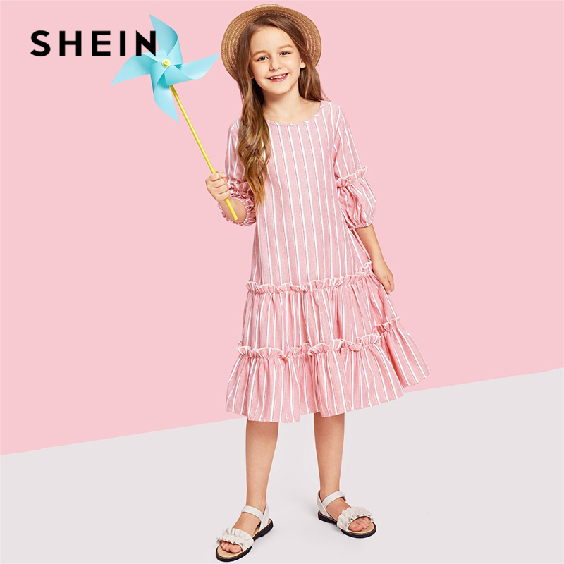SHEIN Kiddie Pink Lantern Sleeve Layered Ruffle Striped Button Elegant Girls Dress 2019 Summer Cute A Line Casual Kids Dresses ruffle strap and hem striped dress